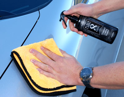 Black Label Diamond Coating Booster can be applied with a microfiber towel