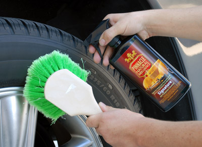Pinnacle Signature All Purpose Cleaner is strong enough to tackle wheels, tires and engine bays