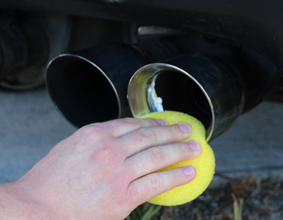 Lake Country Exhaust Sponge is flexible to reach tight areas