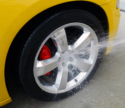 Pinnacle Advanced Wheel Cleaner concentrate rinses clean, leaving your wheels shiny and glossy