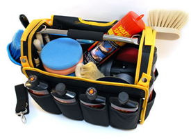 The Pinnacle Detailer's Bag has multiple compartments for microfiber towels, brushes, polishes, and waxes.