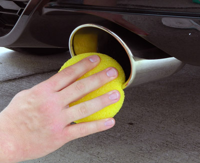 Lake Country Exhaust Polishing Sponge removes heavy oxidation