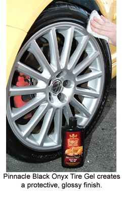 The finish of Pinnacle Black Onyx Tire Gel can be layered for a glossier finish or enjoy a rich satin finish.