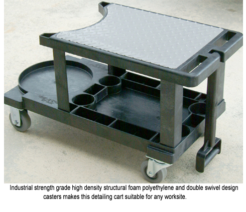 INDUSTRIAL STRENGTH GRADE HIGH DENSITY STRUCTURAL FOAM POLYETHYLENE & DOUBLE SWIVEL DESIGN CASTERS MAKES THIS DETAILING CART SUITABLE FOR ANY WORKSITE.