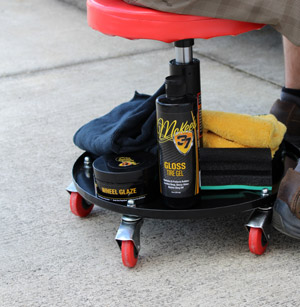 Detailer's Rolling Creeper easily holds all of your required detailing products on the bottom.