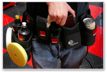 Rupes Big Foot Detailing Belt holds polish, pads, and your cell phone!