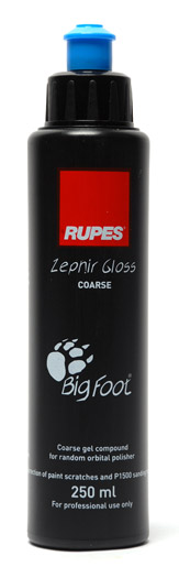 Rupes Zephir Gloss Coarse Gel Compound quickly removes deep paint imperfections including swirls and scratches