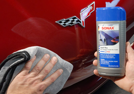 Use a Cobra Microfiber Towel to buff away Sonax NanoTechnology Liquid Car Wax.