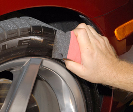 Apply a thin, even coat of Sonax Tire Gloss Gel to each tire.