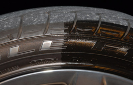 Sonax Tire Gloss Gel leaves a dark, glossy finish.