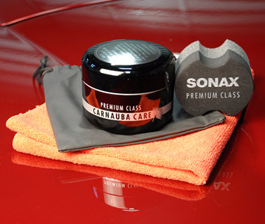 Sonax Premium Class Carnauba Wax is made with 100% carnauba wax.