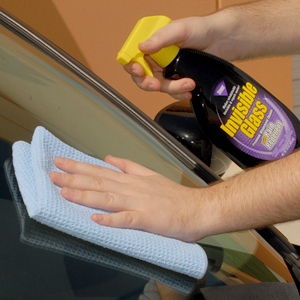 Stoner Invisible Glass Cleaner with Rain Repellent removes dirt and repels moisture.