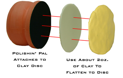 The Polishin Pal Clay Disc attaches the detailing clay to the Polishin Pal.