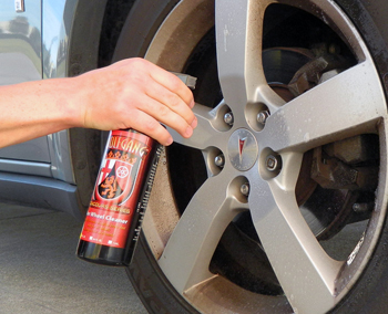 Spray Wolfgang Uber Wheel Cleaner directly onto wheel