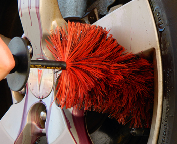 Thoroughly clean wheel with the Speed Master JR Wheel Brush