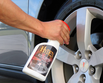 Rinse wheel and apply Hydes Serum Rust Stopper directly onto brake rotor