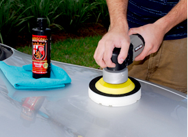 Work at a speed of 5 on your dual action polisher.