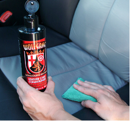 Apply Wolfgang Leather Care Conditioner to protect and soften leather seats.