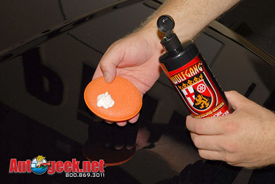 Squeeze a nickel to a quarter size amount of Wolfgang Paintwork Polish Enhancer onto the applicator pad.