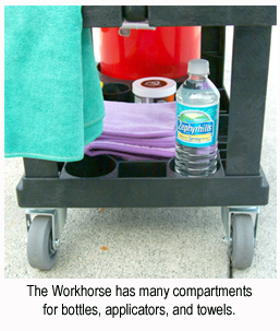 The Workhorse Auto Detailing Cart has many compartments for bottles, applicators, and towels.
