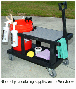 Store all your detailing Supplies on the Workhorse Auto Detailing Cart.