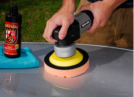 Work your dual action polisher at a speed of 5 or 6. You're your rotary between 1200-1800 rpm.