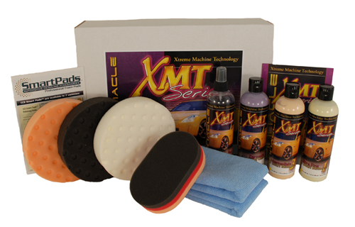 The XMT Light Swirl Remover Complete Kit includes Lake Country pads and XMT Series polishes.