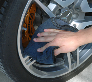 The Microfiber All Purpose & Wheel Detailing Towel is black which makes it great for drying wheels and tires