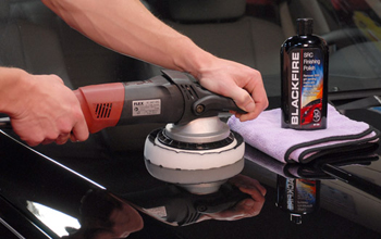 Blackfire SRC Finishing Polish being applied with a polishing pad on a FLEX Orbital Polisher.