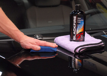Blackfire Gloss Enhancing Polish can be applied by hand.