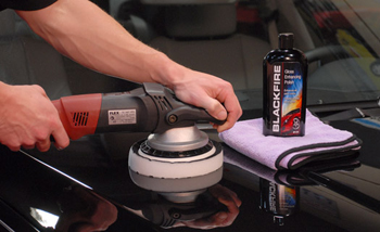 Blackfire Gloss Enhancing Polish being applied with a FLEX Orbital Polisher.