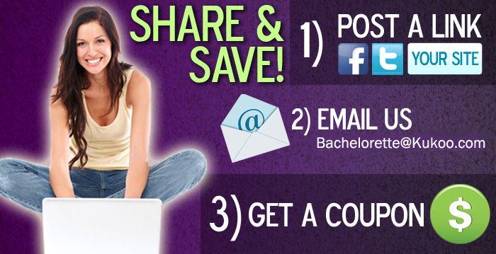 Bachelorette.com offers this coupon for Bachelorette party supplies for bloggers.