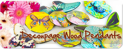 decoupage wood pendants