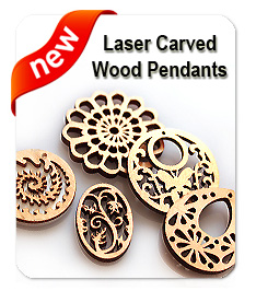 laser carved wood pendants
