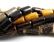 tube and heishi wood beads