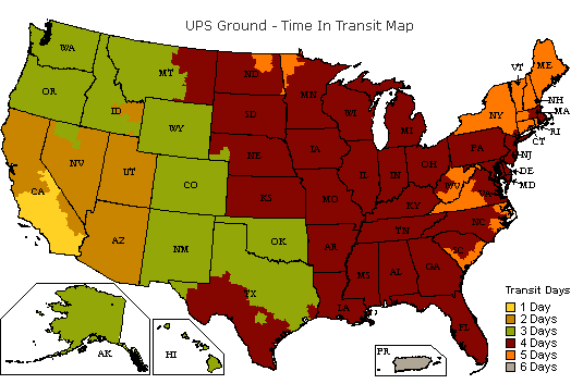 UPS Ground Time-In-Transit Map