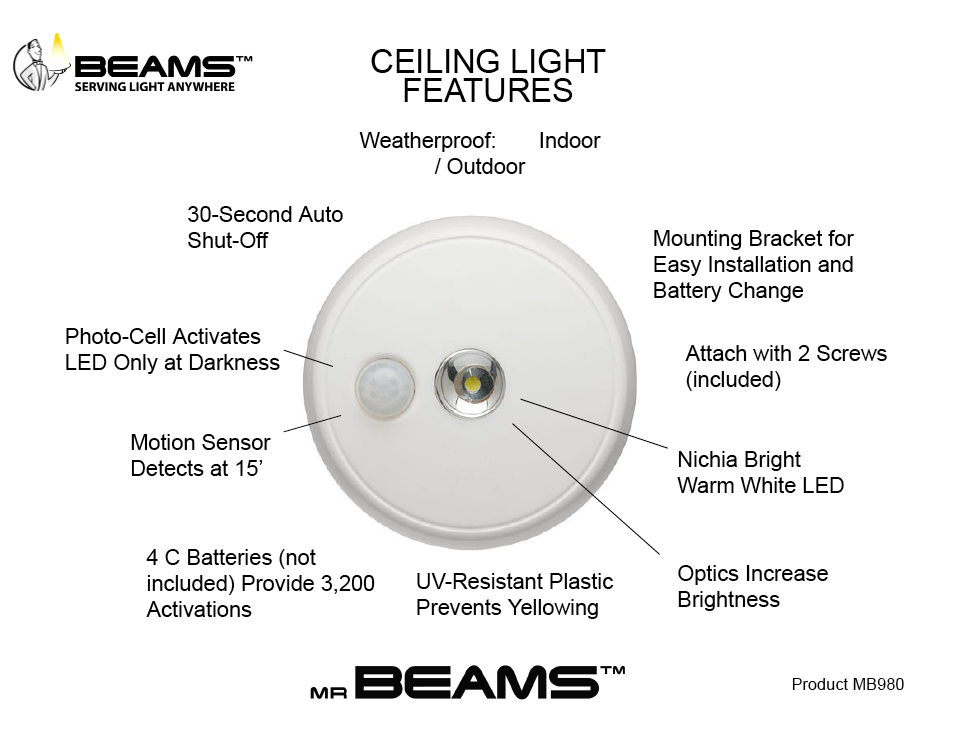 Battery Operated Weatherproof Ceiling Light