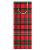 Gift Wrap Wine Bags Royal Plaid 4 Pc