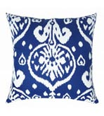 Ikat Pillow Blue Canvas