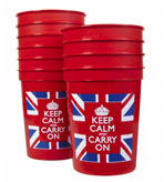 Keep Calm and Carry On Union Jack Cups 10 Count