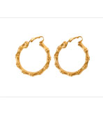 KJL Earrings Clip On Hoop Bamboo