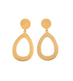 Earrings Clip On Gold Open Drop