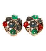 Kenneth Jay Lane Clip On Tutti Frutti Diamond Earrings