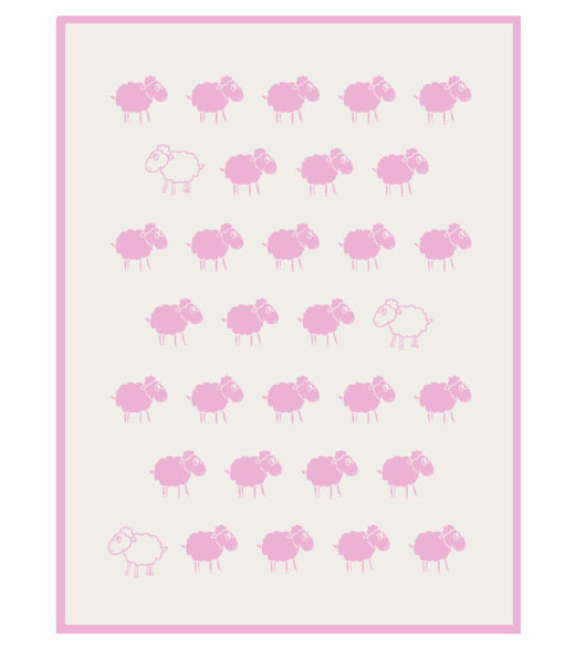 plush throw pink sheep reverse