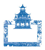 Unique Place Cards Chinoiserie Toile Blue Pak 8