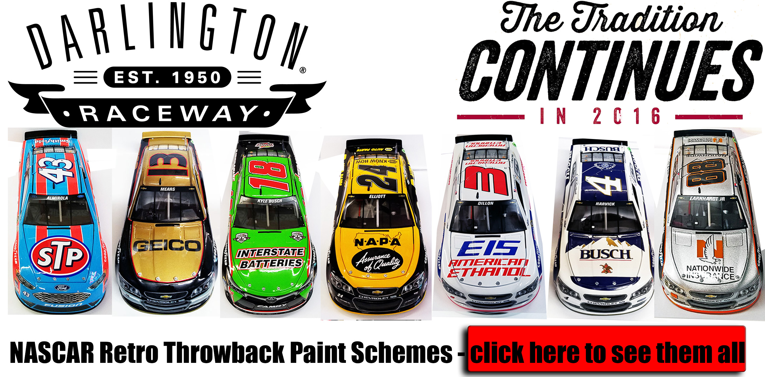 darlington 2016 retro throwback diecasts