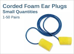 Corded Foam Ear Plugs in Small Quantities (1-50 Pairs)
