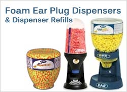 Foam Ear Plug Dispensers and Dispenser Refills