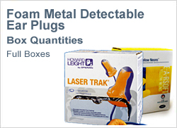 Foam metal detectable ear plugs in boxes
