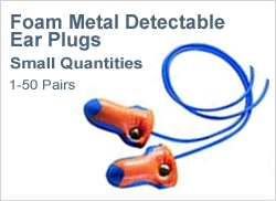 Metal Detectable Foam Ear Plugs in Small Quantities